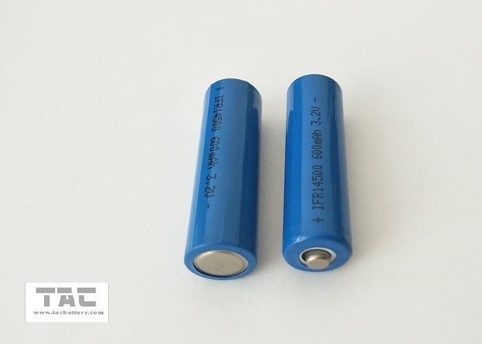 Blue PVC 3.2V LiFePO4 Battery AA 14500 600mah For Solar Lamp And LED